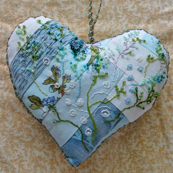 Embroidered Heart by Peony and Parakeet