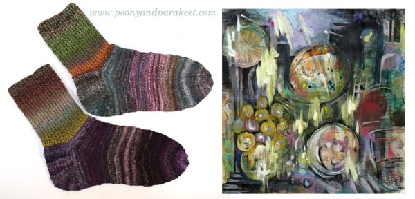 Handmade socks and mixed media painting share the same color scheme, by Peony and Parakeet