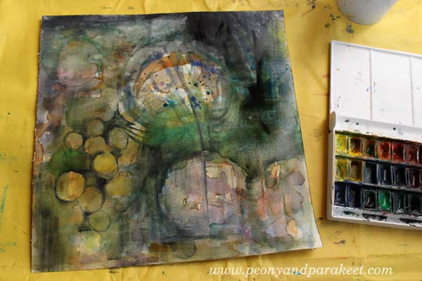 Creating a mixed media painting, by Peony and Parakeet