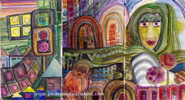 Hundertwasser inspired sketches by Peony and Parakeet