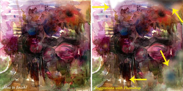 Adding visual nuances - suggestions for finishing a mixed media painting, by Peony and Parakeet