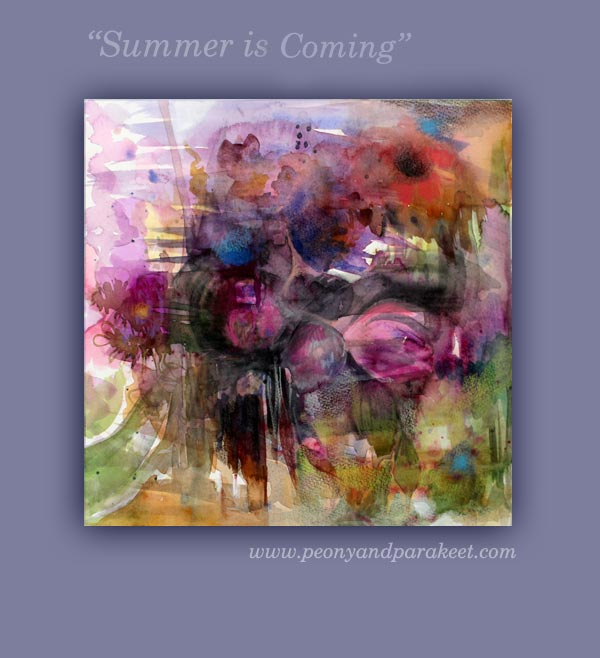 """Summer is Coming"", a mixed media painting by Peony and Parakeet"
