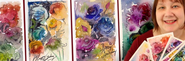 Flower Postcards with Watercolors and Colored Pencils, a video for Peony and Parakeet's newsletter subscribers