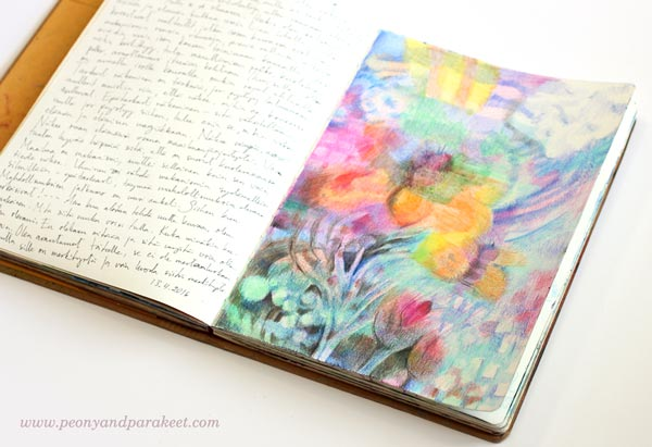 Art journal page spread by Peony and Parakeet. Colored freely with colored pencils.