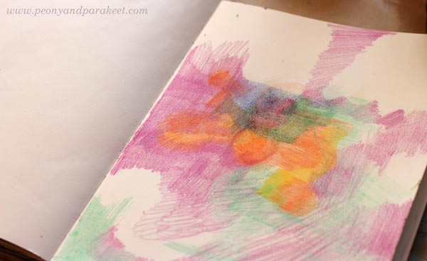 Coloring an art journal page by Peony and Parakeet