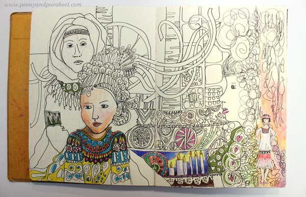 Coloring tips for an art journal page spread by Paivi Eerola from Peony and Parakeet