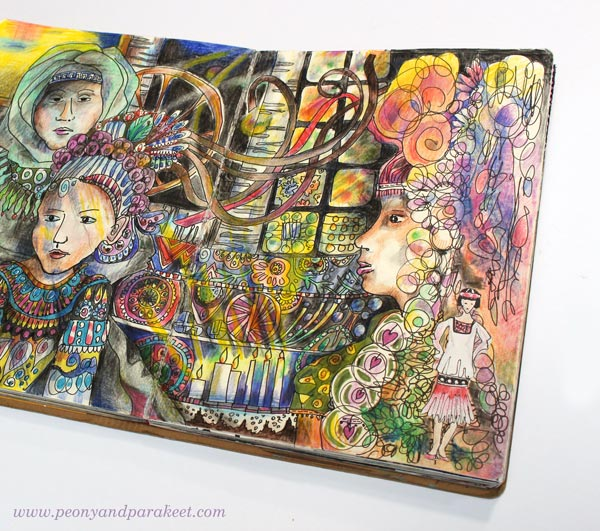 The Chain of Generations, an art journal page spread by Paivi Eerola from Peony and Parakeet