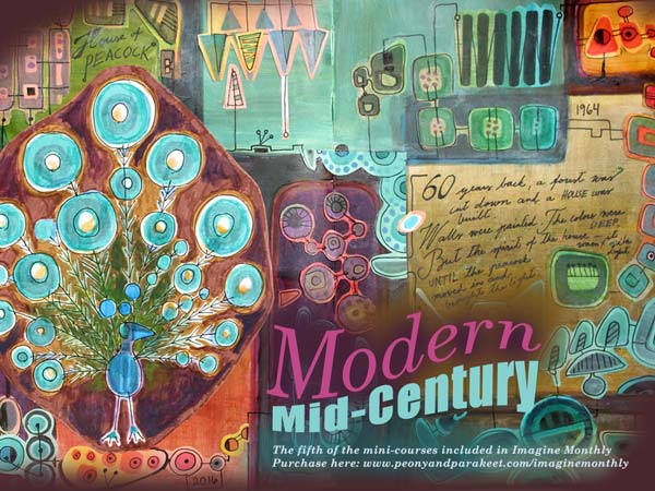 Modern Mid-Century, a mini-course about making an art journal spread in mid-century modern style