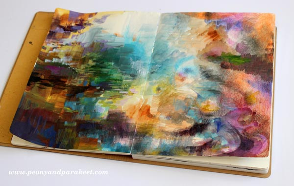 Explorer's Fountain, an art journal page spread by Paivi Eerola from Peony and Parakeet