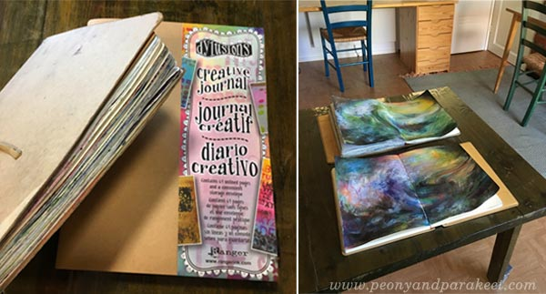 Art journals with stormy seascapes by Peony and Parakeet