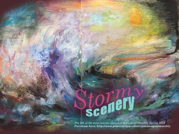 Stormy Scenery, an art journaling mini-course by Peony and Parakeet