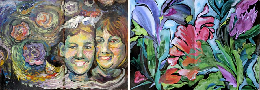 Imagine Monthly art journaling classes. Vincent van Gogh inspired portrait painting class & Georgio O'Keeffe inspired botanical collage class by Peony and Parakeet
