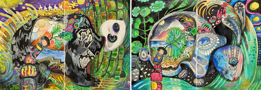 Illustrations from an art journaling class Drawing Factory. By Peony and Parakeet. Join Imagine Monthly Fall 2016 and get this class immediately after the purchase!