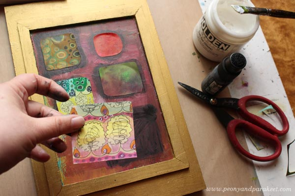 Decorating a box with collage pieces by Peony and Parakeet