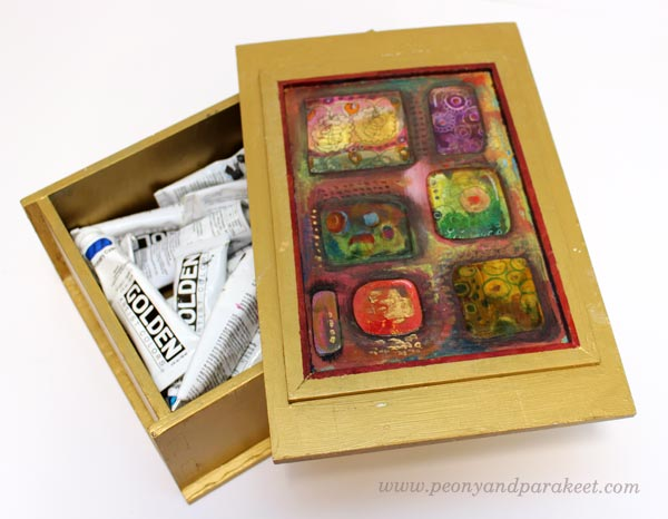 Decorated box with collage pieces by Peony and Parakeet