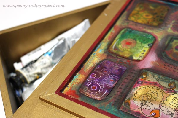 Decorated a box with collage pieces by Peony and Parakeet