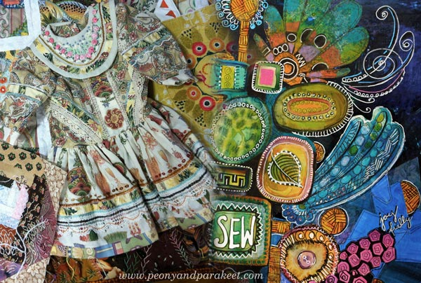 Artistic Embroidery with Pens and Papers, a class by Paivi Eerola from Peony and Parakeet. About how to create an embroidery inspired paper collage. Included in 21 Secrets Spring 2015