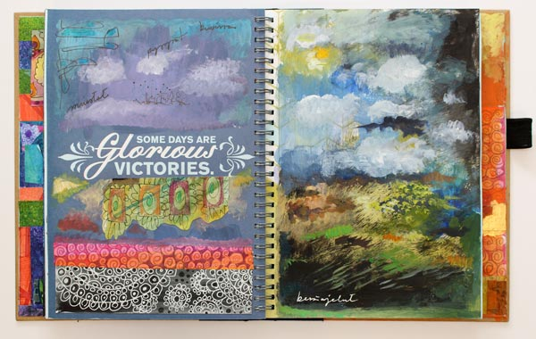 A spread in Peony and Parakeet's full art journal. See the art journal flip through video!
