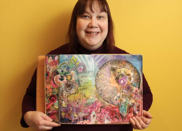 Paivi Eerola and a handdrawn collage created for the art journaling class Doodled Luxury, collage ideas for creatives!