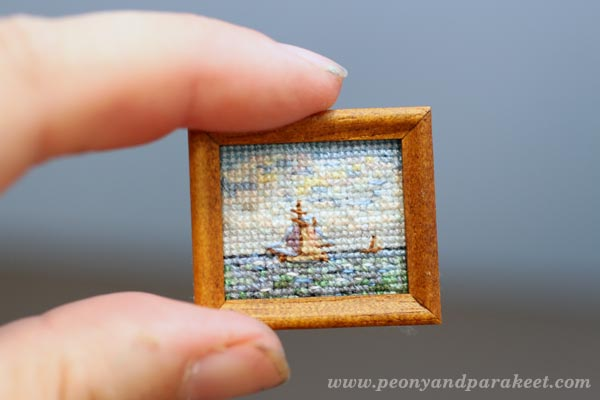 Miniature cross stitch sea painting. By Peony and Parakeet.
