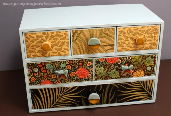 Ikea Moppe mini chest of drawers. Hacked by Peony and Parakeet. Ceramic knobs by Clay Is My Art Etsy shop.