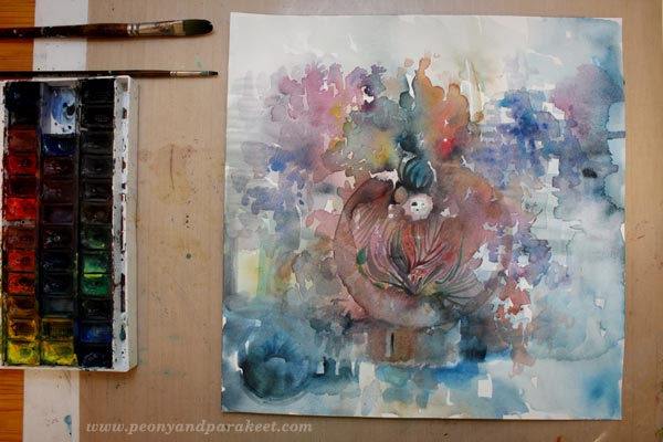 Watercolor painting in progress. By Peony and Parakeet.