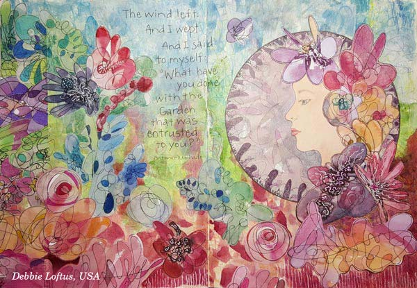 Debbie Loftus, USA, a handdrawn collage created at the art journaling class Doodled Luxury