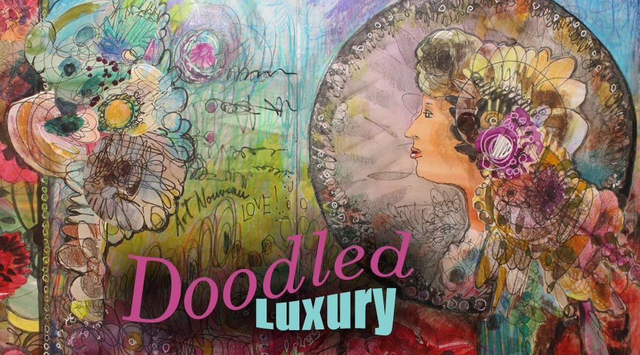 Doodled Luxury, a mixed media art class inspired by Alphonse Mucha, by Peony and Parakeet