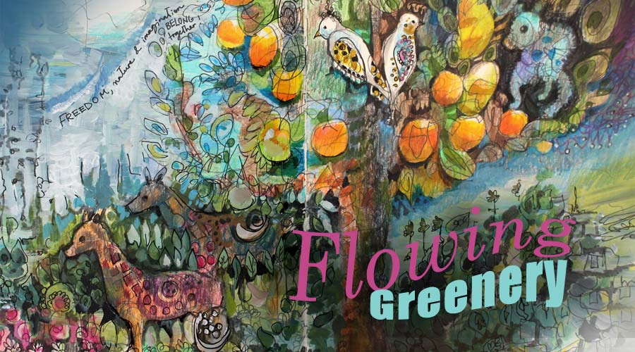 Flowing Greenery, William Morris inspired art journaling class by Peony and Parakeet