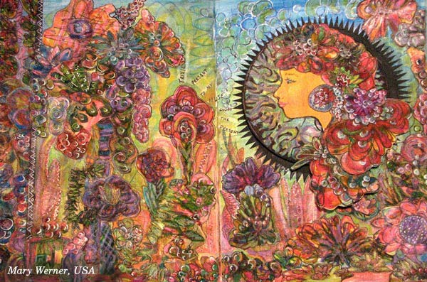 Mary Werner, USA, a handdrawn collage created at the art journaling class Doodled Luxury