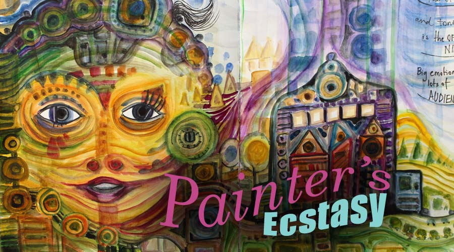 Painter's Ecstasy, watercolor art journaling class inspired by Hundertwasser