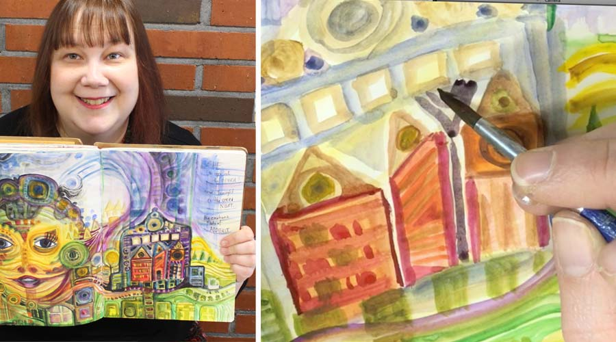 Art journaling inspired by Hundertwasser, a watercolor painting class by Peony and Parakeet
