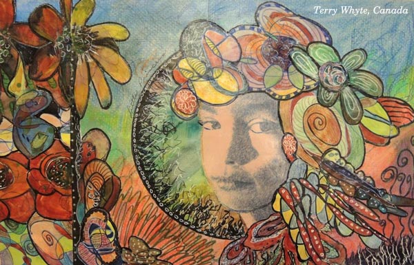 Terry Whyte, USA, a handdrawn collage created at the art journaling class Doodled Luxury