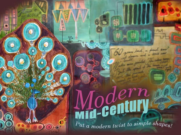 Modern Mid-Century, an art journaling class that teaches drawing and collage art based on simple shapes. By Peony and Parakeet.