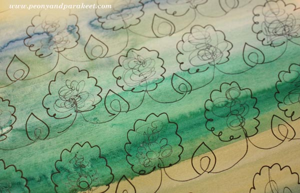 Step-by-step instructions for a decorative pattern that can be used as it is or for creating collage art. By Peony and Parakeet.