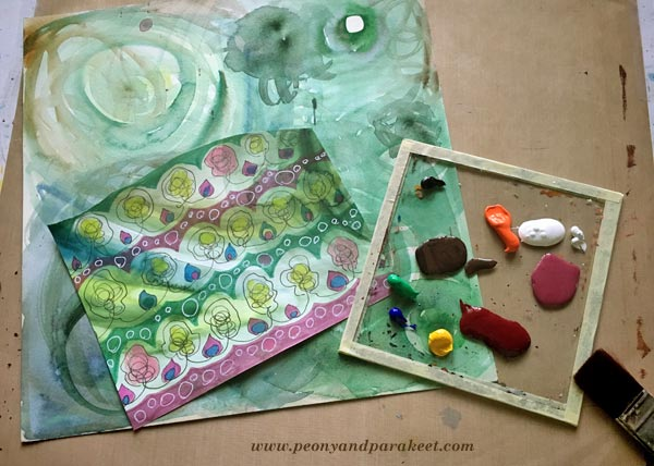 Creating a mixed media painting using hand-decorated paper. By Peony and Parakeet.