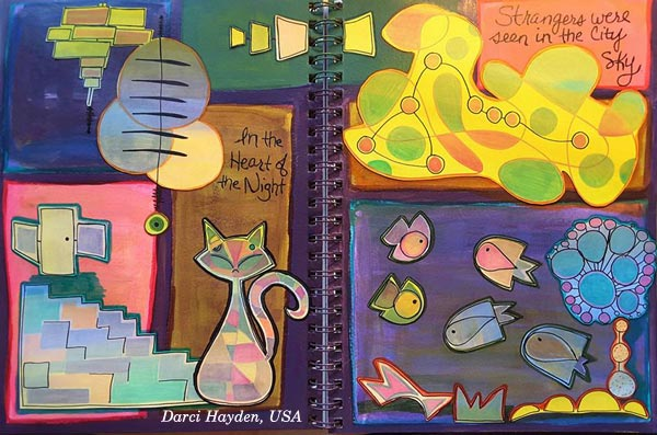 Darci Hayden, USA. A student artwork for the art journaling class Modern Mid-Century.