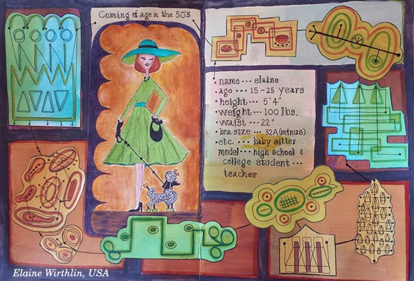 Elaine Wirthlin, USA. A student artwork for the art journaling class Modern Mid-Century.