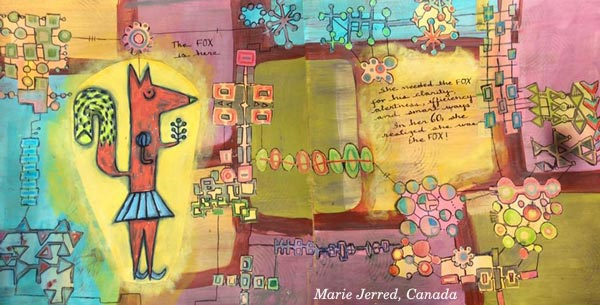 Marie Jerred, Canada. A student artwork for the art journaling class Modern Mid-Century.
