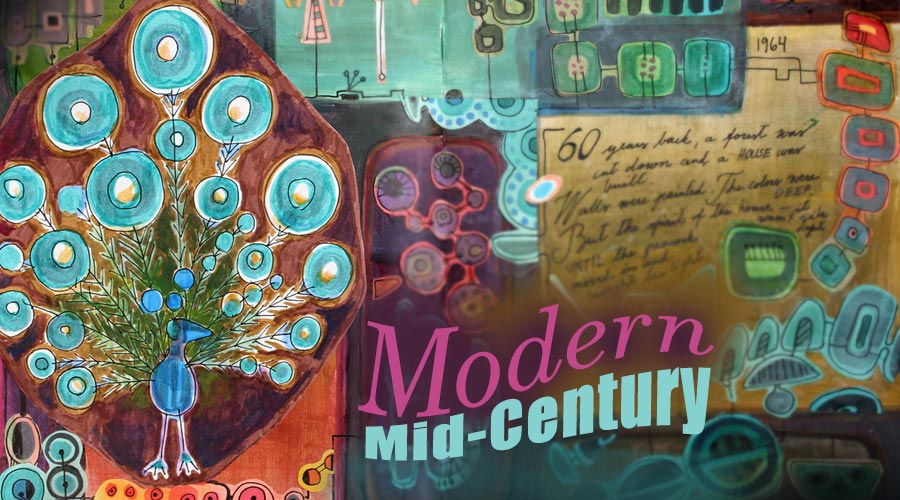 Modern Mid-Century, an art journaling class about decorative shapes and mid-century modern style. By Peony and Parakeet.