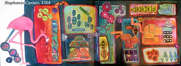 Stephanie Carney, USA. A student artwork for the art journaling class Modern Mid-Century.