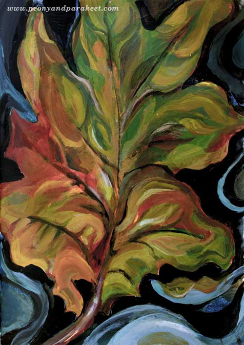 Oak Leaf by Paivi Eerola from Peony and Parakeet. Tribute to Georgia O'Keeffe. Watch the video of painting this!
