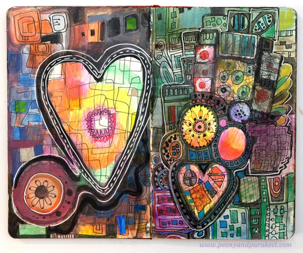An art journal spread in a Moleskine Sketchbook. Heartful Ideas by Peony and Parakeet.