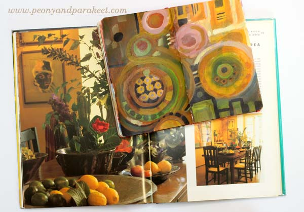An art journal spread by Peony and Parakeet and Tricia Guild's book Design and Detail. Get inspired by using interior color schemes in your art!