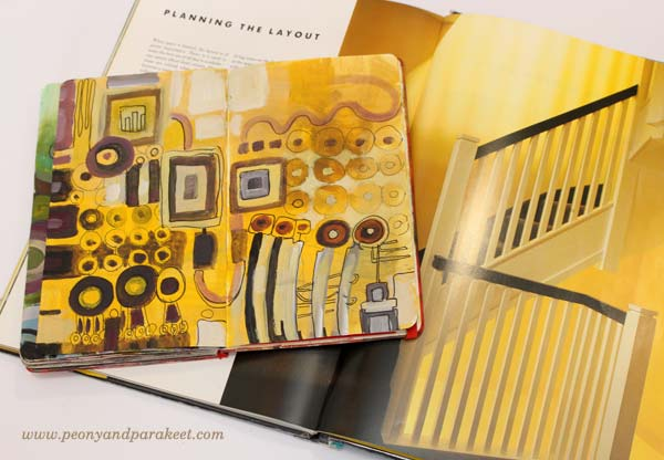 An art journal spread by Peony and Parakeet and Tricia Guild's home decor book Design and Detail. Get inspired by using interior color schemes in your art!