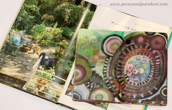 An art journal spread by Peony and Parakeet and Tricia Guild's home deocr book Design and Detail. Get inspired by using interior color schemes in your art!