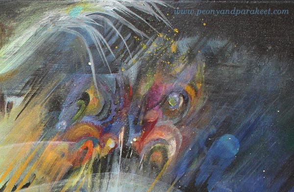 A detail of Human Nature, by Peony and Parakeet. An acrylic painting on a big canvas.