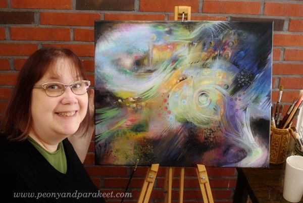 Creating a painting on a big canvas. Painting in progress. By Peony and Parakeet.
