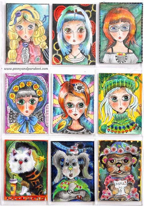 Hand-drawn ATC cards by Paivi Eerola from Peony and Parakeet.