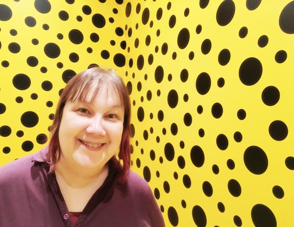 Paivi Eerola at Yayoi Kusama's exhibition in Helsinki Art Museum, a pause from creative struggles